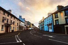 Row of pubs and bars in the city of Ballycastle, Northern Ireland stock photo