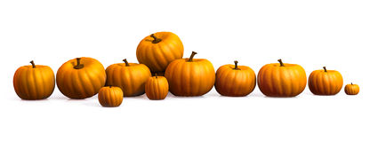 Row of pumpkins stock photo