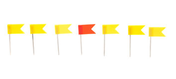 Row of push pins flags Royalty Free Stock Photography