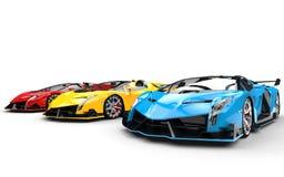 Row of race supercars - blue car closeup Stock Photo