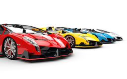Row of race supercars Royalty Free Stock Images