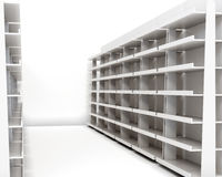 Row of racks with shelves on white background. 3d rende vector illustration