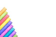 Row of rainbow chalk isolate on white background. Row of rainbow colored chalk isolate on white background Royalty Free Stock Photo