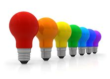 Row of rainbow lightbulbs Royalty Free Stock Images