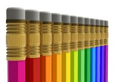 Row of rainbow pencils Stock Image