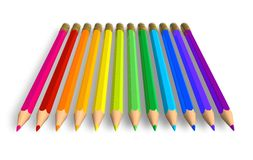 Row of rainbow pencils Royalty Free Stock Photos