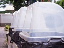 Row of recycle waste bins. Close up Royalty Free Stock Photos