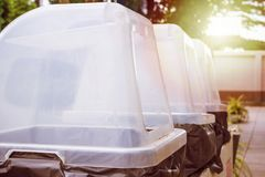 Row of recycle waste bins. Close up Stock Photo