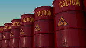Row of red barrels with flammable content. 4K seamless loopable animation, ProRes. Row of old red barrels with inflammable liquid. 4K CG looping animation royalty free illustration