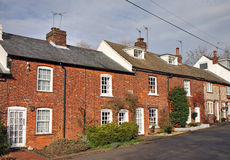 Row red brick terraced Cottages Stock Photo