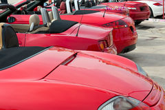 Row of red cabriolet Royalty Free Stock Photo
