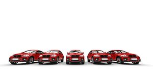 Row of red cars Stock Photo