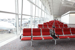 Row of red chair at airport Stock Image