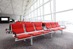 Row of red chair at airport Royalty Free Stock Photo