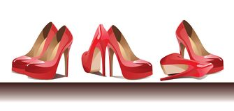 Row of red female footwear. Vector royalty free illustration