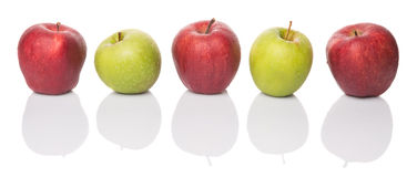 Row Of Red And Green Apple III Royalty Free Stock Images