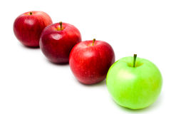 Row red and green apples Royalty Free Stock Photo