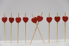 A row of red hearts royalty free stock photos