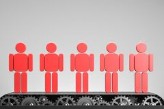 Red people figurines on conveyor belt over gray stock illustration