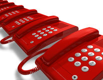 Row of red office phones Stock Photos