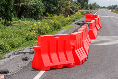 Row of red plastic barrier Preventing accidents Royalty Free Stock Photos