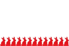 Row of red rabbits Stock Image