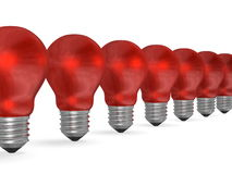 Row of red reflective light bulbs in perspective Royalty Free Stock Photo