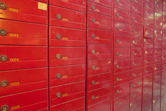 Row of red steel lockers Stock Image