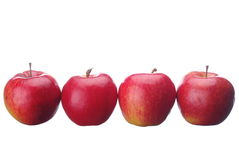 Row of red tasty apples Stock Photos