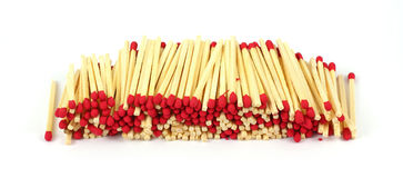Row Red Tipped Wooden Matches Stock Photography
