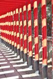 Row of red torii gates at Inuyama, Japan Royalty Free Stock Image