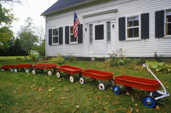 Row of Red wagons Stock Image