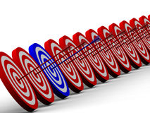 Row Red and White target. With arrow Stock Photo