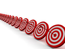 Row Red and White target. With arrow stock images