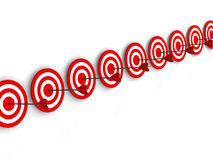 Row Red and White target with arrow Stock Photography