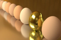 Row of the rendered eggs. On a shiny table Stock Photography