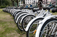 A row of rental bikes Stock Photo