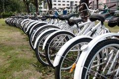 A row of rental bikes Stock Photo