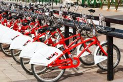 Row of rental bikes parked at a docking station Royalty Free Stock Image