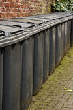 Row of residential wheelie bins Stock Photography