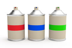 Row of RGB cans of spray paint Royalty Free Stock Image