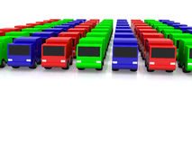 Row of RGB cars. 3D Royalty Free Stock Photography