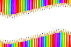 Row or ribbon of rainbow colored pencils over white background with copy space in the middle. 3d Rendered Illustration of a row or ribbon of rainbow colored vector illustration