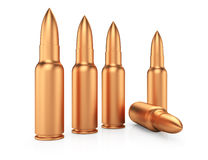 Row of rifle cartridges Royalty Free Stock Photo