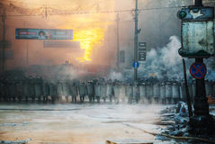 A row of the riot police at Hrushevskogo street in Kiev, Ukraine Royalty Free Stock Photo