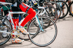 Row of road bicycles bikes at opening of the cycling season in c Royalty Free Stock Image