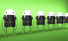 Row of robots with glowing heads, perspective view Royalty Free Stock Images