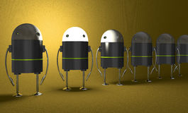 Row of robots, one with glowing head, perspective Stock Photography