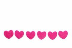 Row of romantic pink hearts Stock Photo