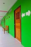 Row room and green wall Stock Photos